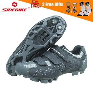 Image 1 - SIDEBIKE Men Women Mountain Bike Shoes Professional Lock Cycling Shoes Reflective Non slip Wear resistant Bicycle MTB Sneaker