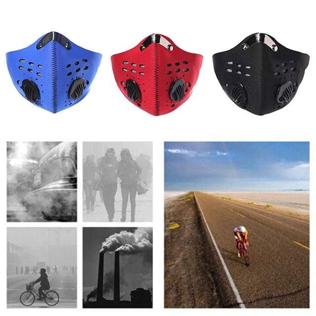 5layers Activated Carbon Filter Breath Valve Mask PM2.5 Flu Mouth Mask Dustproof Mask Reusable Bicycle Mask For Man and Woman 1