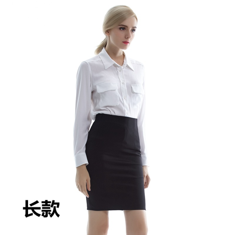 2019 Spring And Summer Ol Mid-length Black Skirt Business Dress High Waist Skirt Elasticity Skirt Safety Shorts One-step Skirt W