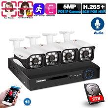 H.265 8CH 5MP System kamer CCTV bezprzewodowy zestaw POE NVR zewnętrzny wodoodporny 5MP Audio POE kamera IP System nadzoru bezpieczeństwa