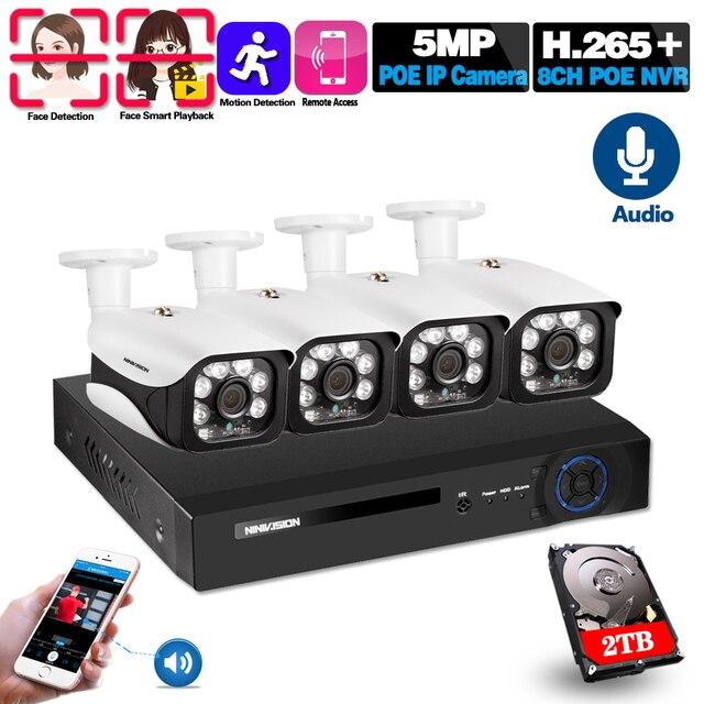 H.265 8CH 5MP cctvカメラシステムワイヤレスpoe nvrキット屋外防水 5MPオーディオpoe ipカメラセキュリティ監視システム