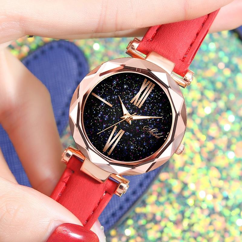 Часы WOKAI Женские повседневные, модные наручные, с ремешком, с изображением неба и звезд, для студентов