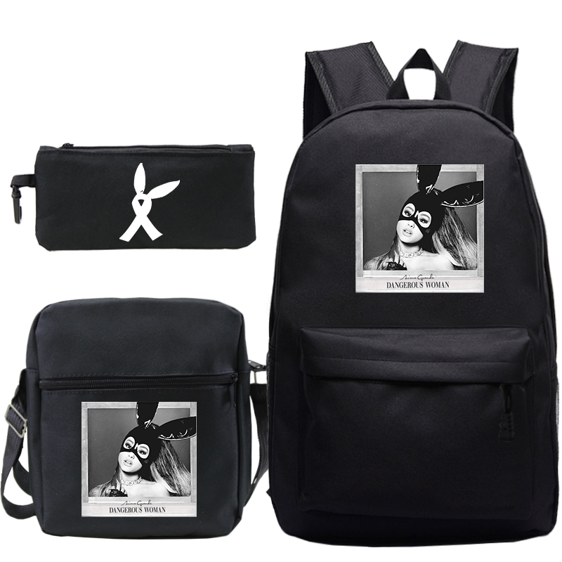 Ariana Grande Backpack Mochila 3pcs/set School Bags For Girls Boy Laptop Backpack Travel Bags Women Backpacks+hand Bags+pen Bag