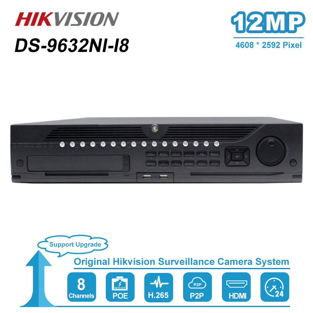 Hikvision Original 32CH Max Support 12MP Embedded 4K NVR 8 SATA Interface 2CH HDMI H.265+ Network Video Recoder DS-9632NI-18 title=
