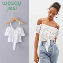 Women blouse cute style solid color square-collar Spaghetti Strip female chic shirt summer women tops blusas