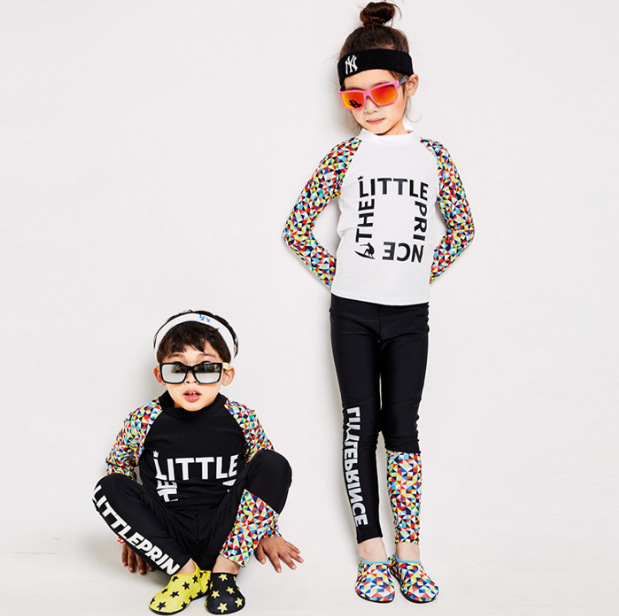 Korean-style Children Long Sleeve Trousers Diving Suit Lettered Floral-Print Mixed Colors Sun-resistant Large Size Split Type BO