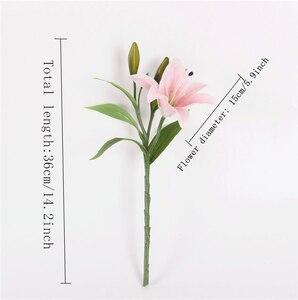 Image 3 - 웨딩 장식 크리스마스 선물에 대 한 HI Q 11pcs 3 머리 진짜 터치 PVC 인공 백합 실크 장식 꽃