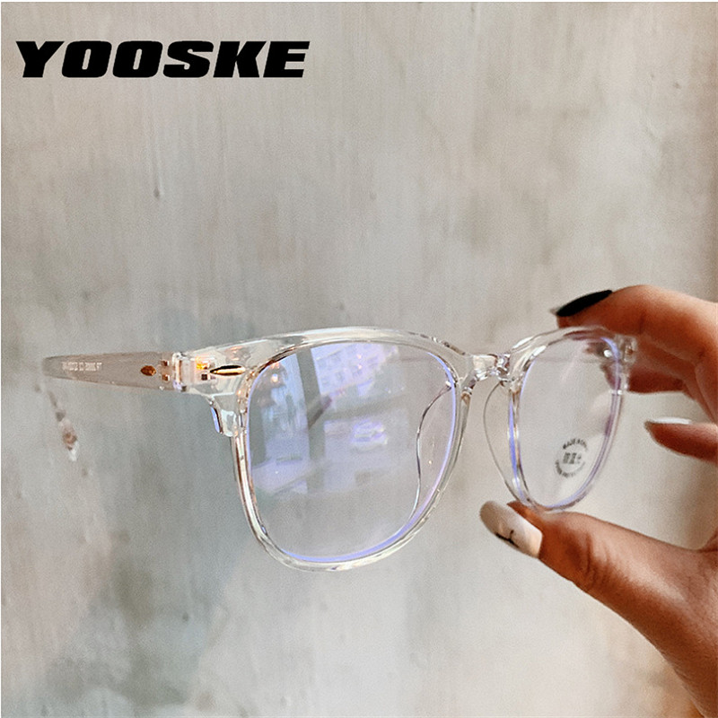 YOOSKE 2020 Anti Blue Light Glasses Frame Women's Eyeglass Frame Computer Eyeglasses Vintage Men Spectacles Transparent Frames