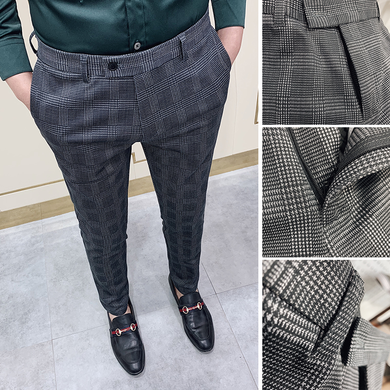 Classic Checked Suit Pants Men 2020 Spring Business Dress Pants Casual Formal Trousers Pantalon Homme Slim Fit Social Clothing