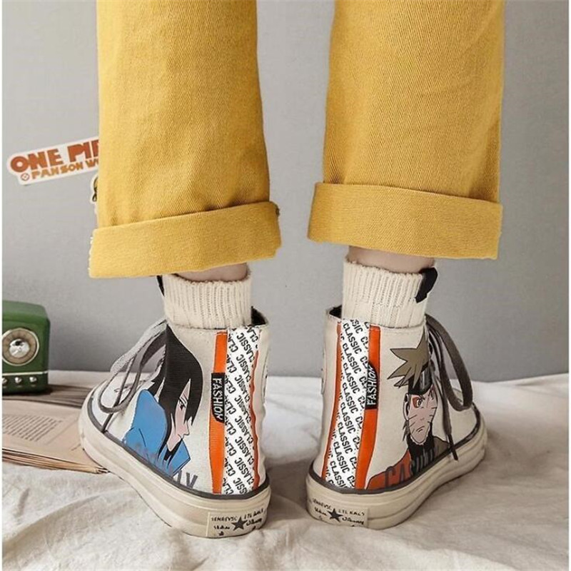 Anime Naruto Sasuke Cartoon Plimsolls Cosplay Canvas Shoes Caricature Fashion Student Dunk High Black White Scrawl Board Shoes