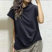 Koyu mavi rahat yaz t-shirt kore düz 2021 japonya kısa kollu Tee Tops Femme Tops yeni moda üst giyim