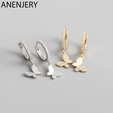 ANENJERY 925 orecchini a cerchio farfalla in argento Sterling per le donne lucido CZ oro argento gioielli regali S-E1375