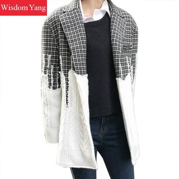 Winter Cashmere Wool Coat Jackets Suit Womens Wool Outerwear Plaid Oversized Korean Clothes Ladies Sweater Coats Woolen Overcoat