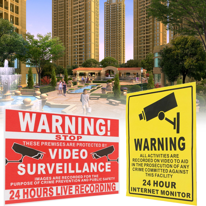 24 HOUR CCTV Security Camera System Warning Sign Sticker Decal Video Surveillance 10pcs 140mmx110mm