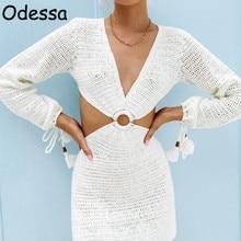 Odessa verão branco com decote em v manga comprida sexy malha mini vestido feminino sem costas oco para fora vestidos de festa casual praia vestidos 2021