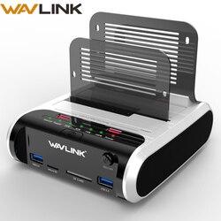 Wavlink 2,5 3,5 pulgadas USB 3,0 a SATA Dual-Bay estación de acoplamiento de disco duro con clon fuera de línea y lector de tarjetas UASP para 2,5 y 3,5 HDD SSD
