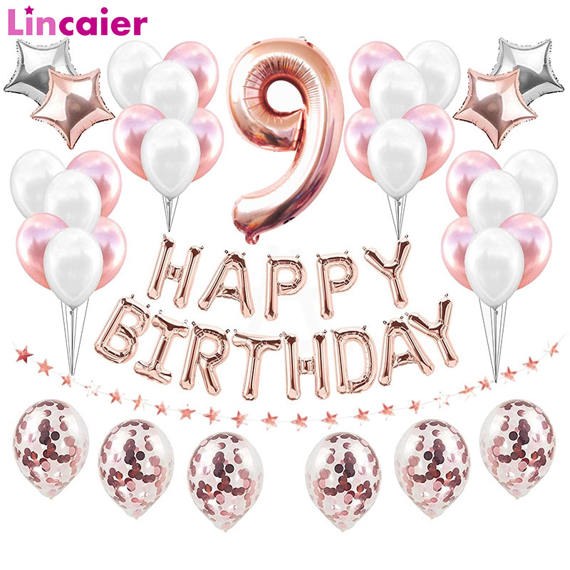 37pcs Number 9 Foil Balloons Happy Birthday Party Decorations 9 Years Old Nineth 9th Boy Girl Nine Supplies Rose Gold Pink Blue Ballons Accessories Aliexpress