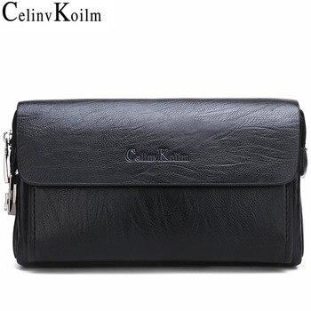 Bolso de mano Celinv Koilm de lujo para hombre, bolsos de mano para teléfono y bolígrafo, billeteras de cuero derramado de alta calidad, bolso de mano para hombre