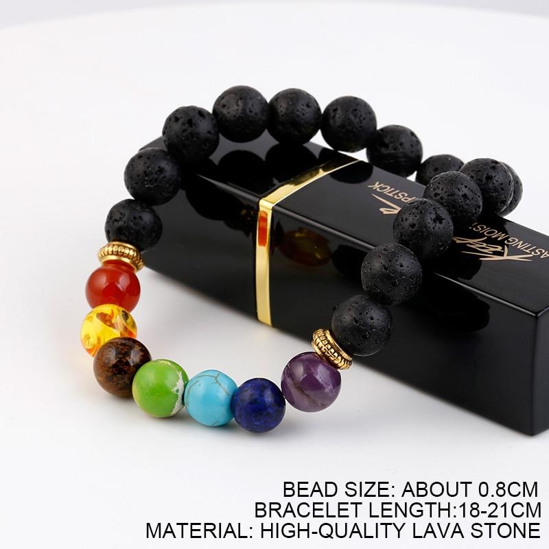 NEW 8MM 7 Chakra Lava stone bracelets for women man bracelet Natural stone Elastique Ajustable Beaded Bracelet femme