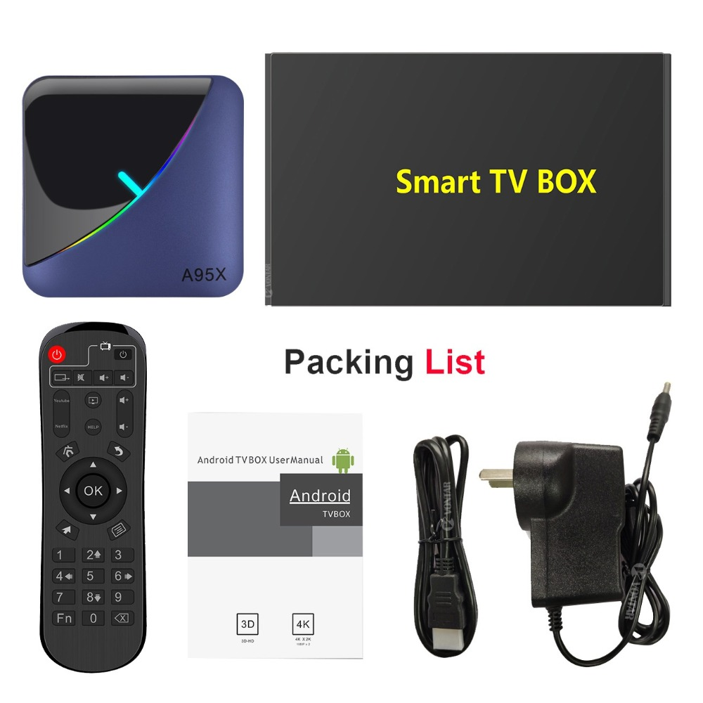 Android 9.0 TV BOX Amlogic S905X3 4G RAM 32GB 64GB ROM Quad Core 2.4G/5GHz Wifi BT H.265 4K Youtube A95X F3 décodeur - 6