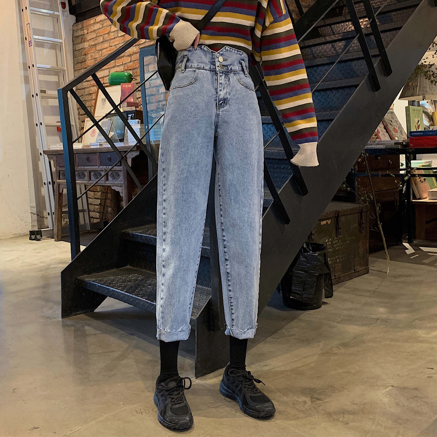 EAD 2020 Spring New Korean Version Of The High Waist Was Thin And Loose Wild Wide Leg Straight Pants Jeans Women Large Size