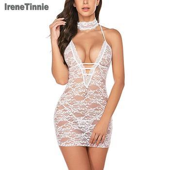 Irene Tinnie Women Clubwear Lace Teddy Lingerie Sexy Deep V Halter One Piece Transparent Dress Bodysuit Nightdress - discount item  15% OFF Exotic Apparel