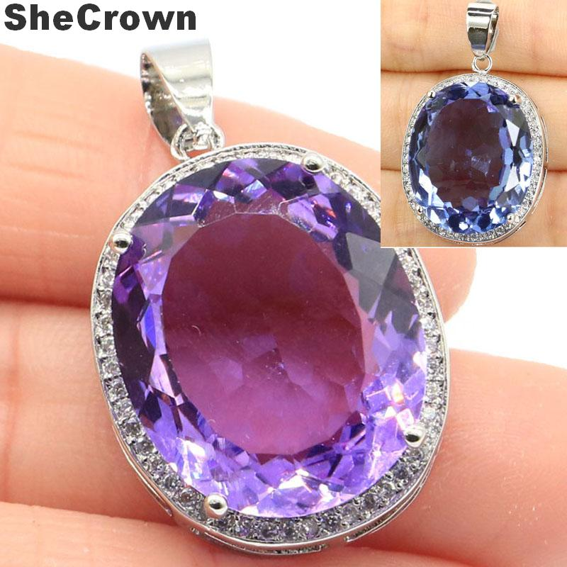 Deluxe Created Big Oval Gemstone Created Color Changing Alexandrite & Topaz CZ Silver Pendant 25x20mm