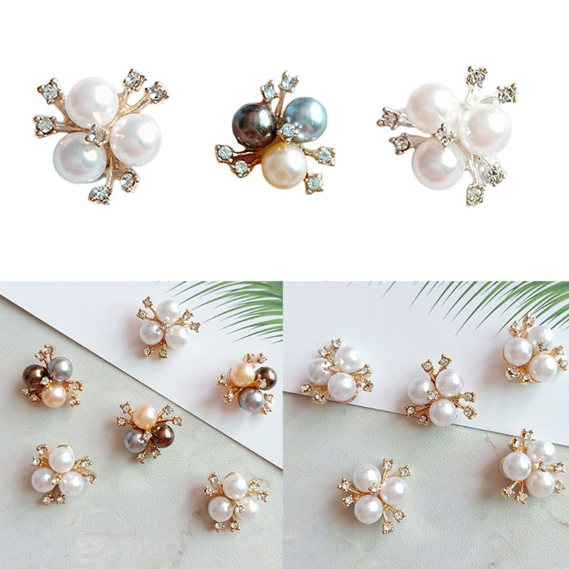 10Pcs Flatback Faux Pearl Flowers Embellishments for DIY Craft Hair Accessories