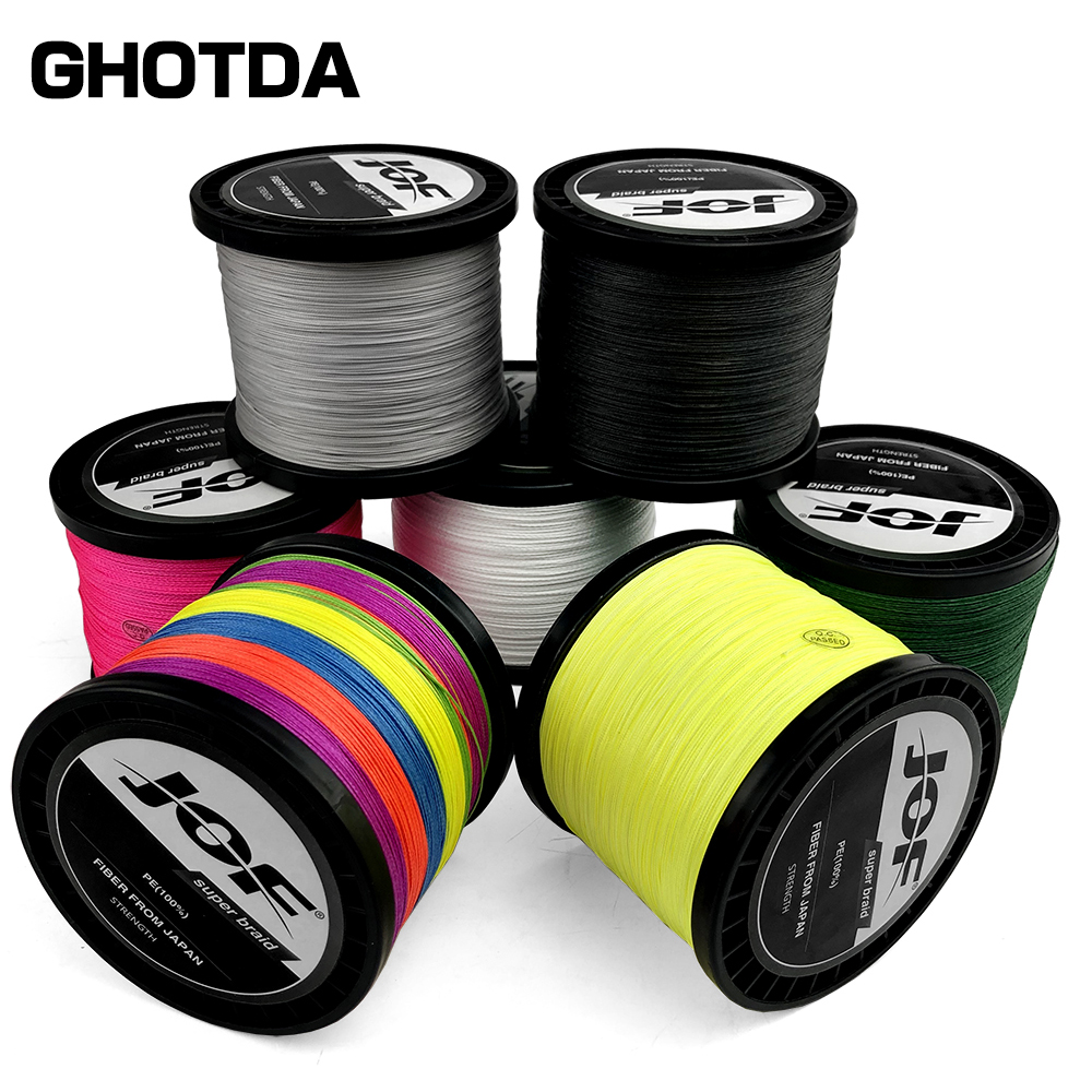JOF 500M 300M 100M 100% PE 8 Strand Braided Fishing Line Multifilament Fishing Line Super strong for Carp Fishing Wire