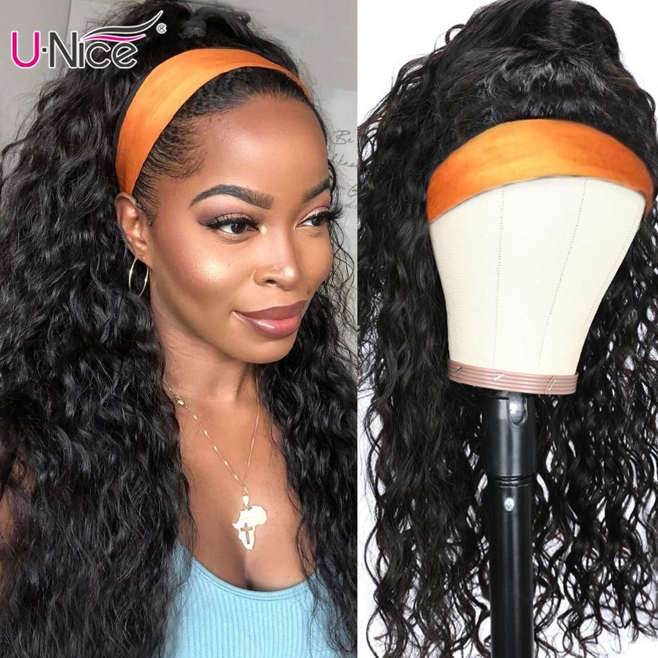 Unice hair 100% cabello humano, diadema, peluca y bufanda de cabello humano ondulado con agua, pelucas sin desplumar para mujeres, sin pegamento y sin necesidad de coser con más pelos