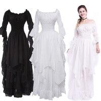 Vintage Victorian Medieval Dress Renaissance Black Gothic Dress Women Cosplay Halloween Costume Prom Princess Gown Plus Size 5XL