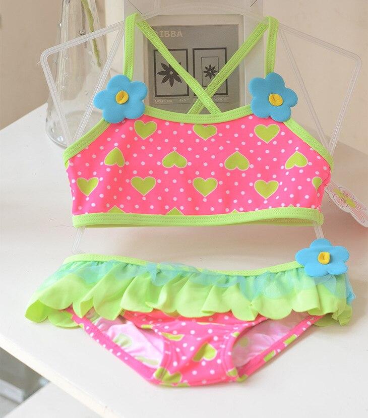 Micro KID'S Swimwear GIRL'S Baby Students Pink And Green Heart Flounced Skirt Split Type Swimwear