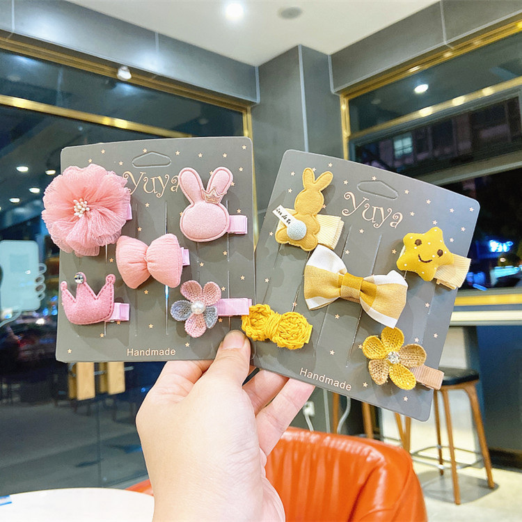 5PC  Cartoon Bear Star Flower Children Side Cloth  Girls Barrettes HeadWear Bow Knot Crown Duck Mouth Baby Hair Clips