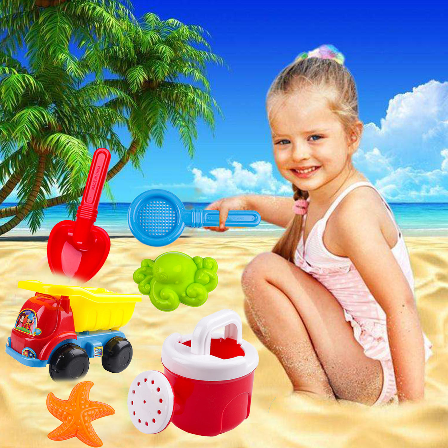 6PCS Funny Summer Beach Sand Game Toys Set With Car Watering Can Shovel Starfish Octopus Filter For Kids Outdoor Beach Sand Toys