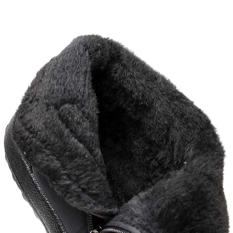 Su geçirmez kar botları kadın kış kürk sıcak yarım çizmeler için kadın botları kışlık botlar fermuar kaymaz kış ayakkabı kadın patik