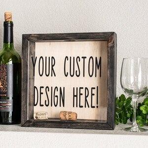 Personnalisez la boîte d'ombre de texte pour des bouchons de vin, boîte d'ombre de fonds de voyage, boîte d'ombre de chapeau de bière, cadeau de mariage fait sur commande, cadeaux d'anniversaire