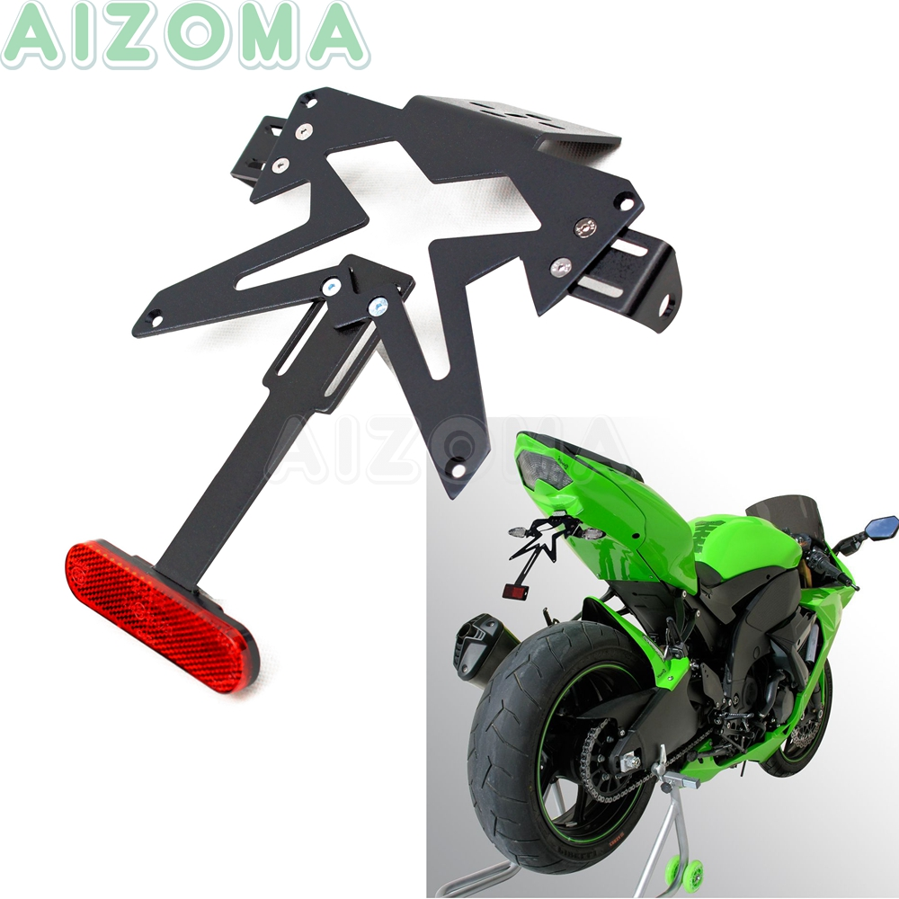 Universal Tail Tidy License Number Plate Holder For <font><b>Kawasaki</b></font> <font><b>Ninja</b></font> 250 300 450 <font><b>650</b></font> ZX6R ZX8R Adjustable Fender Eliminator Kit image
