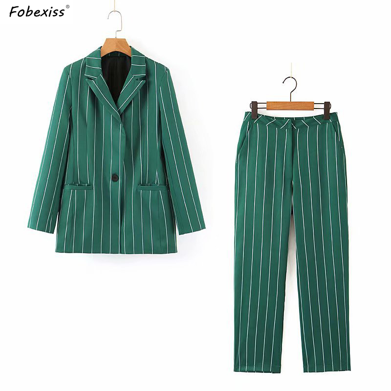 Vintage Green Stripe Pants Suit Women Fall 2019 Long Sleeve Single Breasted Blazer Sets Office Lady High Waist Loose Pants Suit