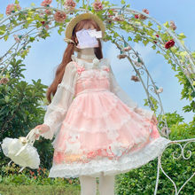 Sweet Girl Pink Lace Cartoon Lolita Dress Gothic Style Tea Party Loli Robe Gown Cute Women Print Princess Dresses COS LO Vestido(China)