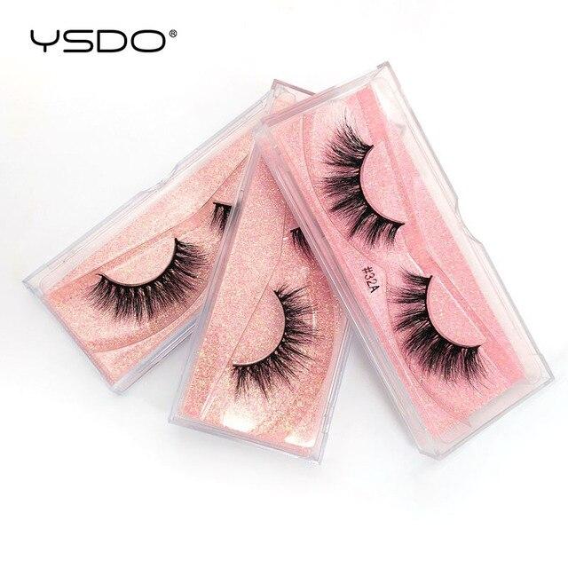 YSDO 1 Pair 3D Mink EyeLashes Natural Hair Long Lashes winged EyeLashes Dramatic Lashes Thick Mink False EyeLashes Fluffy Lashes 4