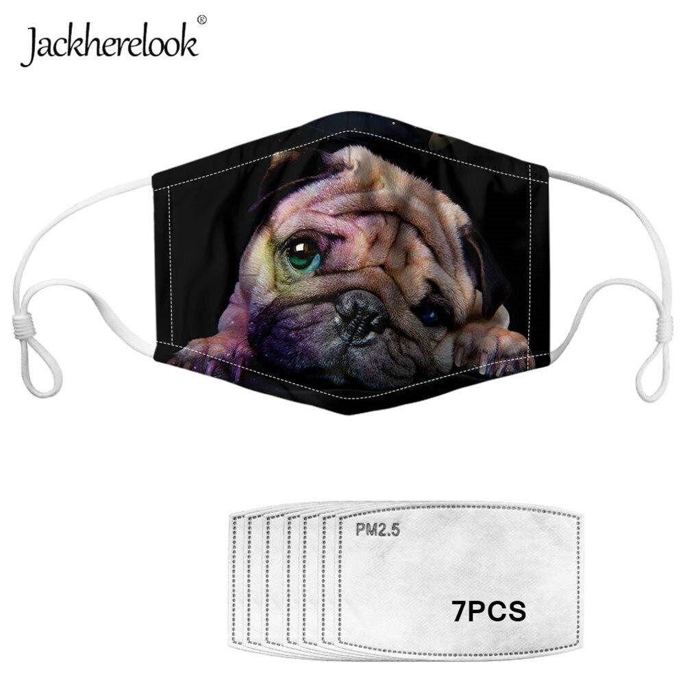 Jackherelook Funny Face Mask Black Pug Print Anti-Haze Dust 7PCS Filters Face Masks Prevent Bacteria Reusable Respirator 2020
