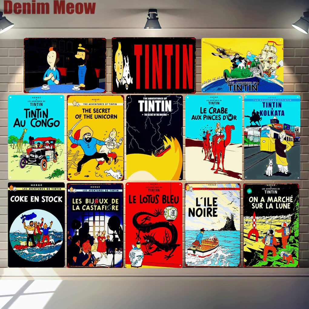 Tintin Cartoon Metal Tin Signs Alpha Art Painting Shop Wall Sticker Home Decor Movie Poster Bar Vintage Iron Plates MN120