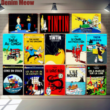 Tintin Cartoon Metal Tin Signs Alpha Art Painting Shop Wall Sticker Home Decor Movie Poster Bar Vintage Iron Plates MN120