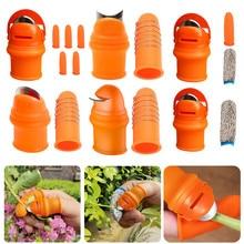 Silicone Thumb Knife Finger Protector Vegetable Harvesting Knife Plant Blade Scissors Cutting Rings Metal Fingernail Gloves