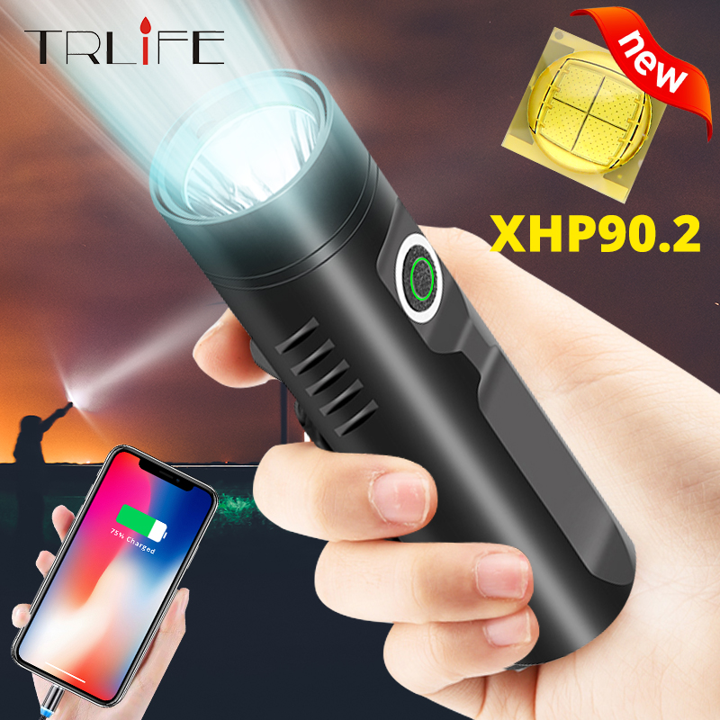 TRLIFE Powerful  Rechargeable LED Flashlight P90.2 P50 L2 T6 Tactical Flashlight Built-in 3200mAh LED Lantern For Camping Riding