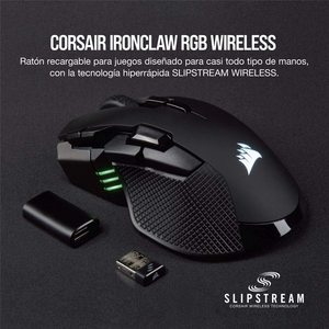CORSAIR IRONCLAW RGB беспроводная, перезаряжаемая игровая мышь с технологией SLISPSTREAM, черный, с подсветкой RGB светодиодный, 18000 DPI