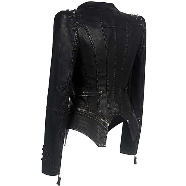 Sexy Leather Biker Jacket 3