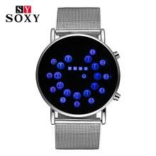 SOXY New Digital Watch Men Simple Steel Watchbands Military Wristwatch Thin Light Dial Clock Fashion Casual Sport Smart Watch soxy relogio wat1316