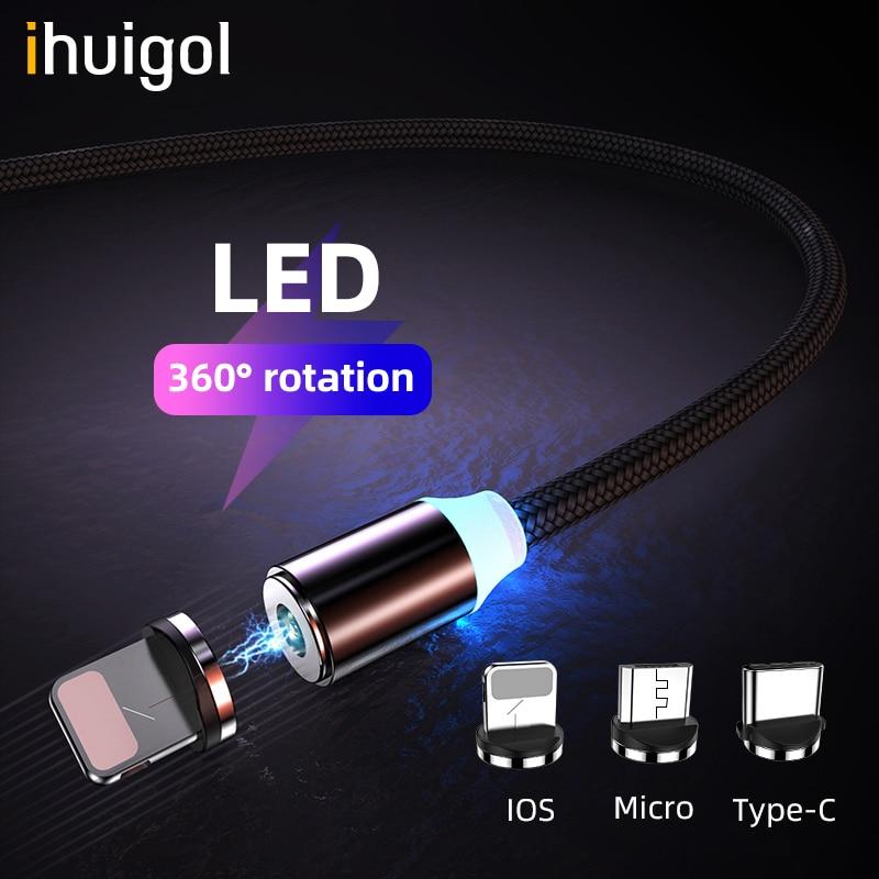 Ihuigol магнитные кабели зарядного устройства 2 в 1 освещение для iPhone X 7 8 Plus зарядный кабель type-C для huawei P20 Micro USB для samsung