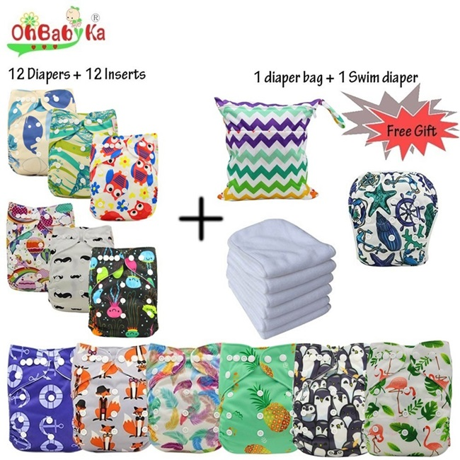 Ohbabyka Reusable Baby Pocket Cloth Diapers Washable Adjustable Nappy Changing 12pcs+12pcs Microfiber Inserts+1Free Diaper Bag